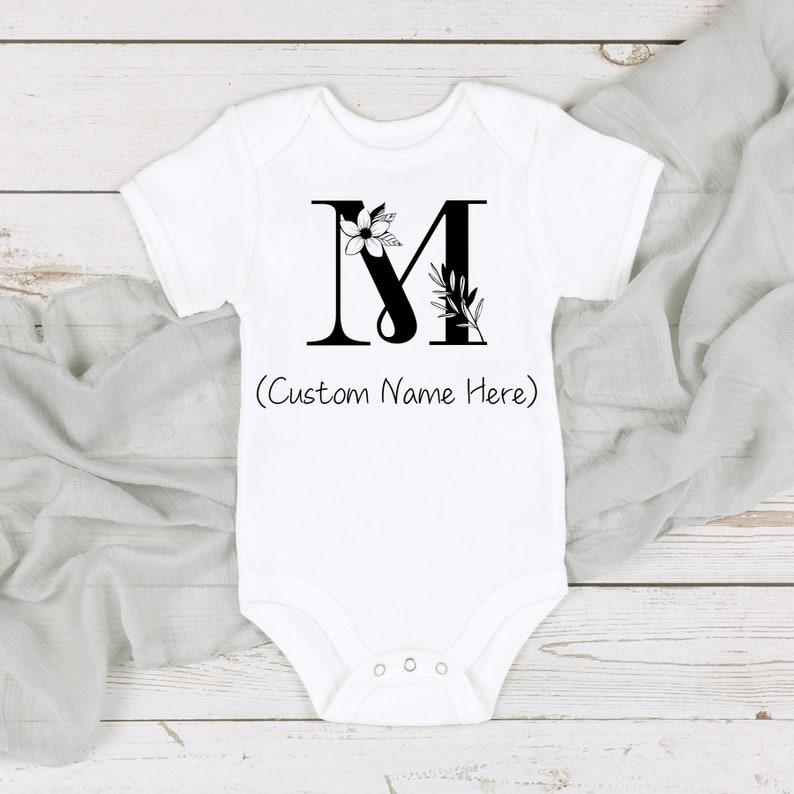 CUSTOM M name Onesie\u00ae-Funny Baby Onesie\u00ae-Cute baby Onesie\u00ae-Baby Girl-Baby Boy-newborn-Baby shower gift-personalized-going home-initial