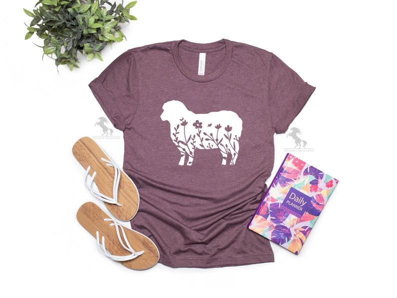 Floral Sheep Shirt Floral Sheep Tee Floral Sheep T-Shirt