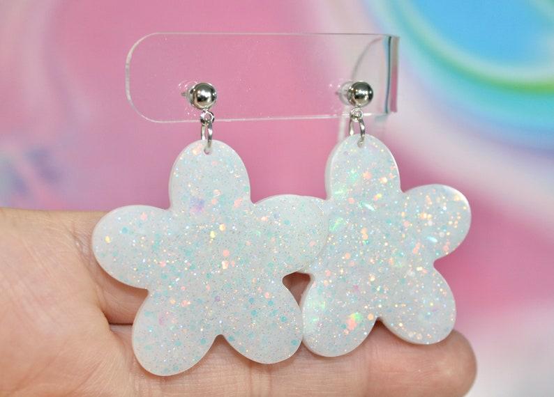 Medium Flower Earrings Opal Resin Earrings