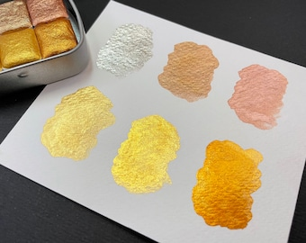 Precious Metal Series - Gold Rose Gold Bronze Silver Watercolour Half Pans - Handmade Premium Pigment Watercolour - Azura Colour