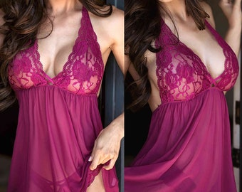 Hand encrusted with Cadbury Purple gems size 8-10uk Valentine Purple Lace Suspender Chemise with Thong