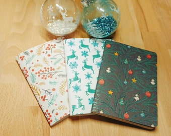 Customizable A6 Christmas Notebook - Metal Accents - Patterns 1 to 32