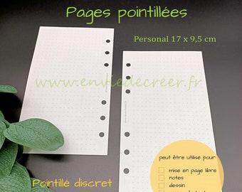 PERSONAL 17 x 9,5 cm - pages vierges pointillées dots à imprimer