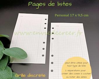 PERSONAL 17 x 9,5 cm - Liste à imprimer