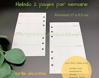 PERSONAL 17 x 9,5 cm - 1 semaine sur 2 pages à imprimer