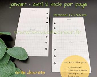 PERSONAL 17 x 9,5 cm - 2 mois par page à imprimer (12 mois de l'année)