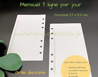 PERSONAL 17 x 9,5 cm - 1 mois sur 1 page à imprimer