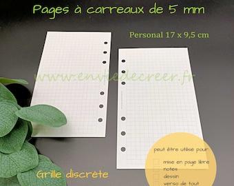 PERSONAL 17 x 9,5 cm - pages vierges à carreaux à imprimer