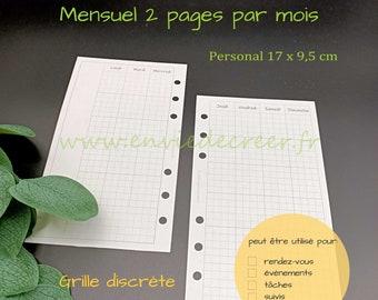 PERSONAL 17 x 9,5 cm - 1 mois sur 2 pages à imprimer