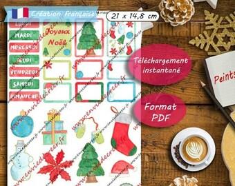 A5 Stickers Noël peints à la main à imprimer