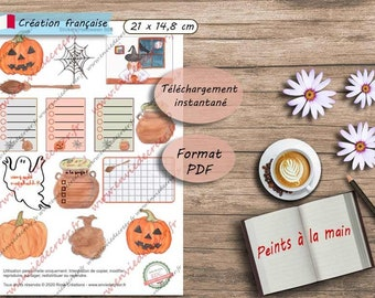 A5 Stickers Halloween peints à la main à imprimer