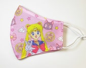 Face Cover Mask Washable and Adjustable made from Pretty Guardian Sailormoon Fabric Cute 90s Y2K Anime
