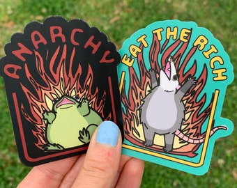 2 Pack Revolution Stickers / Flaming Possum Sticker / Burning Frog Sticker / Eat the Rich / Anarchy / Cute Funny Gifts for Extremists