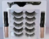 Magnetic Eye Lashes- Eye Lashes- 5 Pairs Magnetic Eyelashes Set Magnetic Liquid Eyeliner Tweezer