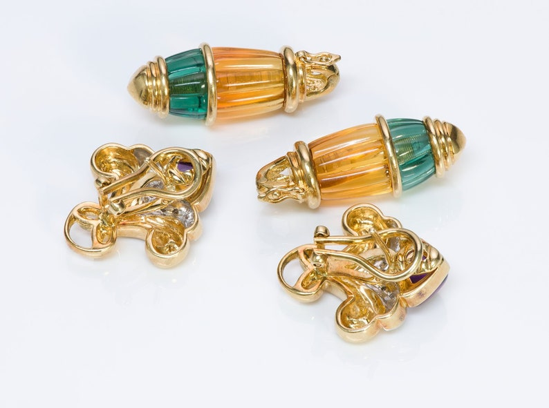 Vintage 18K Gold Diamond Citrine Tourmaline /& Amethyst Earrings Detachable Drops