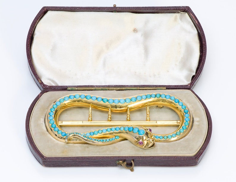 Antique Victorian Gold Snake Ruby Turquoise Buckle Pin