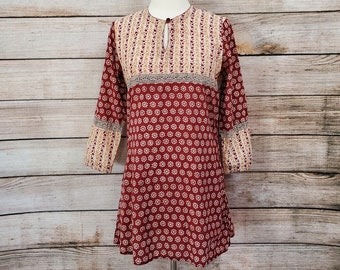 Cotton Tunic Mirrored made in India Vintage Yellow Gold Fabindia size s Embroidered