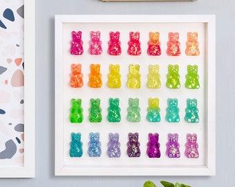 LARGE GUMMY BEAR 3D Wall Pop Art / Rainbow Glitter Resin Handmade Wall Decor