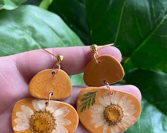 Clear resin Pressed flower earrings on stainless steel ear wires