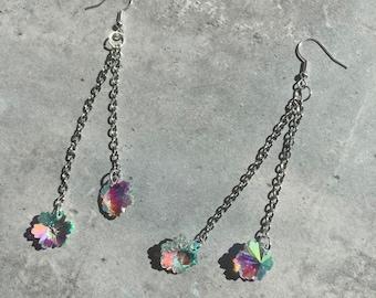 Iridescent flower dangle earrings (hypoallergenic)