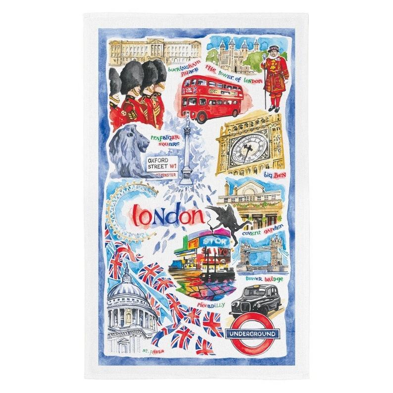 Hand Painted London Tea Towel Craft Produced 100/% Premium White Cotton Tea Towel