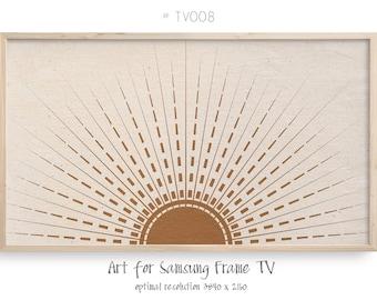 Samsung Frame TV art, abstract boho sunrays art, Celestial 4K digital art for TV display, instant download