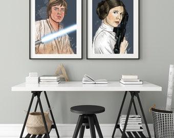 Luke Skywalker and Leia Organa   Brother & Sister Combo Digital Art