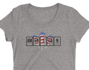 """Periodic Table: """"AmErICaN Fireworks"""" Ladies' (Tri-Blend) short sleeve t-shirt (Black Letters)"""