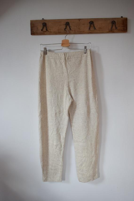 Vintage Cotton-Linen Light Beige Knit Pants Knitt… - image 5