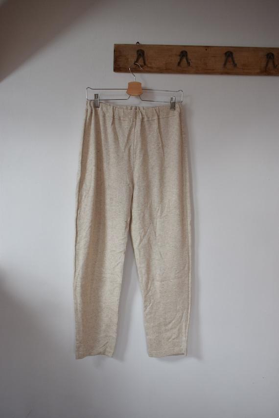 Vintage Cotton-Linen Light Beige Knit Pants Knitt… - image 2
