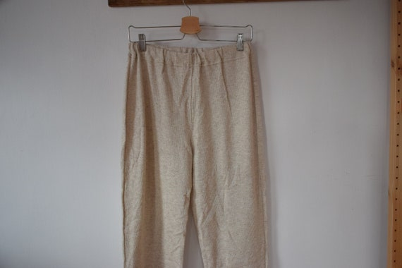 Vintage Cotton-Linen Light Beige Knit Pants Knitt… - image 1