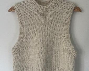 knitted vest white vest unique knit vintage vest universal size universal cut handmade