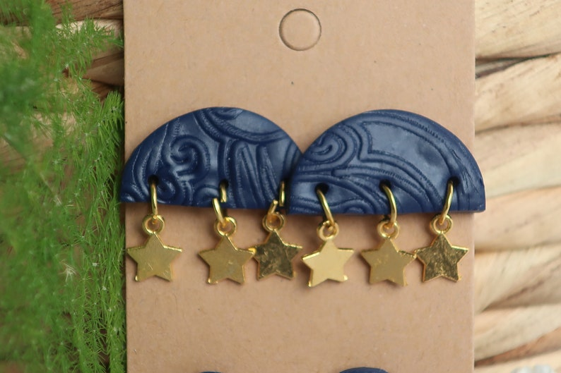 Midnight Blue Patterned Semi-Circle Earrings with Brass Star Charm /& Moon Stud Pack  Polymer Clay Earrings  Stud and Dangle Statement
