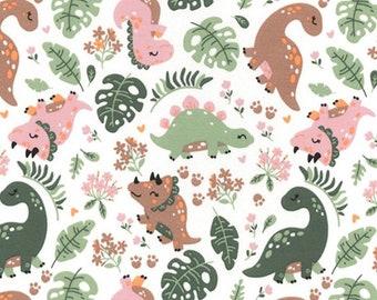 Dinosaur Cotton jersey fabric, pink dinosaur cotton jersey, childrens oeketex cotton jersey