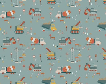 Construction vehicles 100% cotton fabric, digger cotton fabric, construction cotton fabric