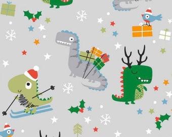 Christmas dinosaur Cotton jersey fabric, christmas cotton jersey, childrens oeketex fabric