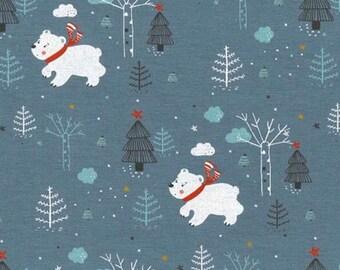 Polar bear Cotton jersey fabric, christmas cotton jersey, childrens oeketex fabric