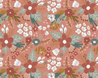 Floral Organic Cotton jersey fabric, salmon floral cotton jersey, childrens organic cotton jersey, floral cotton jersey