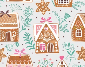 Gingerbread House Cotton jersey fabric, christmas cotton jersey, childrens oeketex fabric