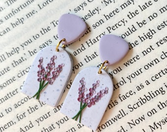 Lavender Floral Earrings  Simple Plant Print  Fabric Button Studs