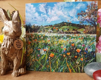 5x Buttercups,Memories,Hopes and Dreams-Wotton Hill. Greetings Cards, Free Postage, Artwork, Fine Artist, Local landmarks, Paintings, Art