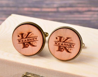 Gift for Groom Personalized Cufflinks Monogram Cufflinks Wooden Cuff Links Rustic Wedding Gift for Groomsmen Bridal Party Gift Initials