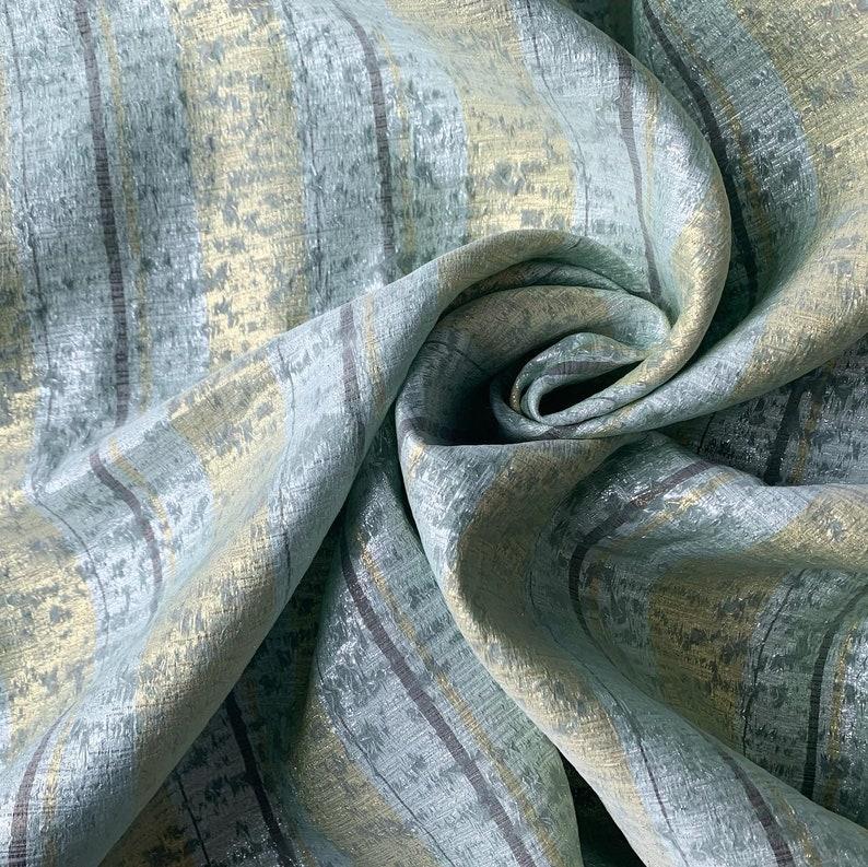 Green Silk Organza Gaufr\u00e9 Vertical Stripes in Lurex Silver 100/% Silk Haute couture fabric fabrics France French 1mx 1,30cm Gold