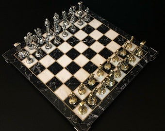 Mythologic Handcrafted Metal Casting Chess Set with Marble Looking Board