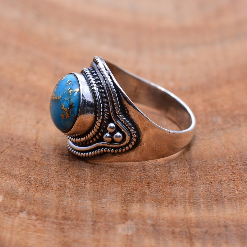 Southwestern Minimal Gemstone Sterling Silver Teardrop Ring Bohemian Boho Modern Desert Rain Turquoise Ring Festival Jewelry Gypsy
