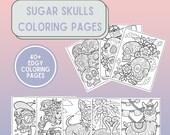Coloring Pages Printable Sugar Skulls 40 Pages Dia de los Muertos Day of the Dead Coco Skeleton Skulls Instant Download PDF File