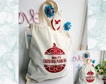 Kids Personalised Christmas Tote Bag, Childrens Glitter Bauble Custom Santa Drawstring Tote, Burlap Christmas Eve Childs PJ Bag Small - Med