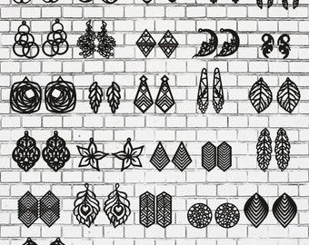 Earrings 30 pcs.Laser cut files SVG DXF CDR vector plans, files Instant download, cnc pattern, cnc cut, laser cut,