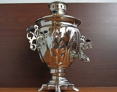Russian samovar in the form of a glass. Vintage, nickel-plated, electric samovar with a volume of 3 liters in working order.