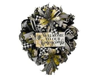 Welcome Honeybee and Buffalo Plaid Wreath for Front Door, Best Door Hanger, Decor for Kitchen